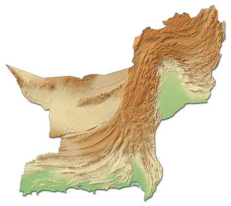Relief map of Balochistan, a province of Pakistan, with shaded relief.