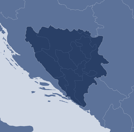 bosna and herzegovina: Map of Bosnia and Herzegovina and nearby countries, Bosnia and Herzegovina is highlighted.