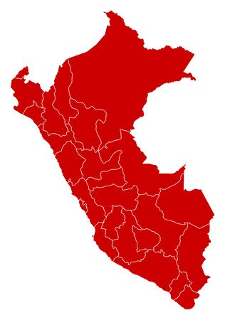 Map of Peru in black with the provinces. Illustration