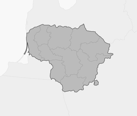 frontiers: Map of Lithuania and nearby countries, Lithuania is highlighted in gray.