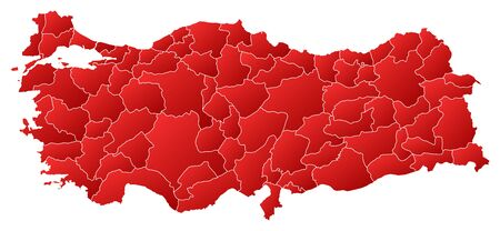 Map of Turkey with the provinces, filled with a linear gradient.