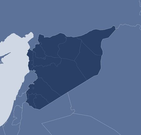Syria: Map of Syria and nearby countries, Syria is highlighted.