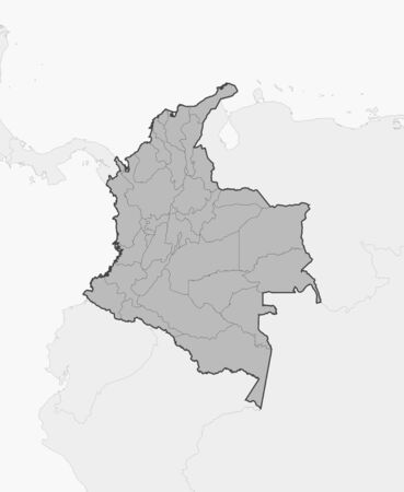 subdivisions: Map of Colombia and nearby countries, Colombia is highlighted in gray. Illustration