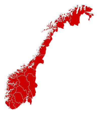 Map of Norway in black with the provinces.