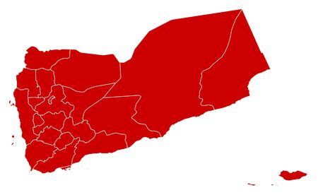 Map of Yemen in black with the provinces. Illustration