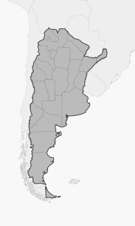 americas: Map of Argentina and nearby countries, Argentina is highlighted in gray.