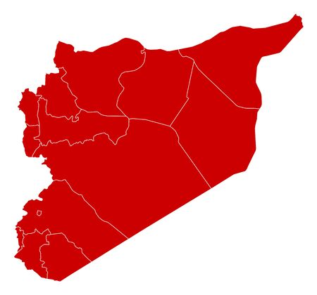 Map of Syria in black with the provinces. Illustration
