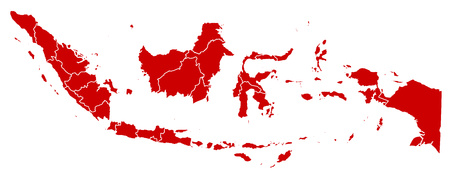 southeastern asia: Map of Indonesia in black with the provinces. Illustration
