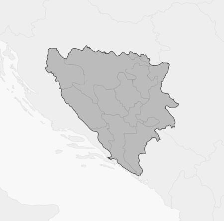 hercegovina: Map of Bosnia and Herzegovina and nearby countries, Bosnia and Herzegovina is highlighted in gray. Illustration