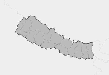 Map of Nepal and nearby countries, Nepal is highlighted in gray. Illustration