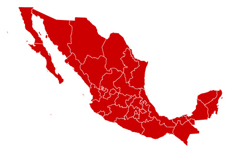 Map of Mexico in black with the provinces. Illustration