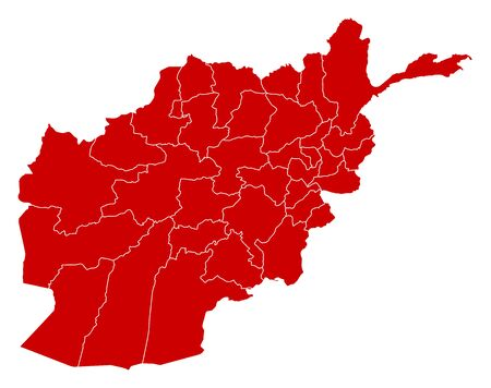 Map of Afghanistan in black with the provinces.