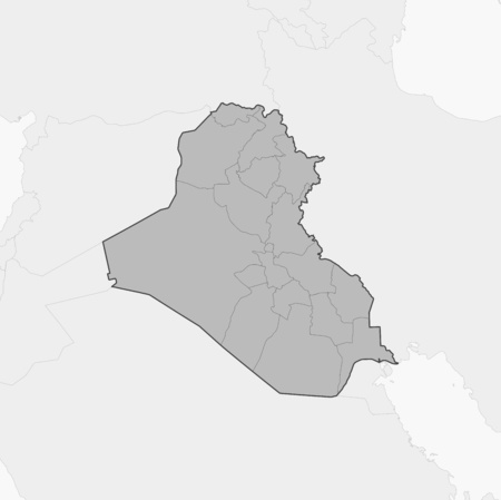 west asia: Map of Iraq and nearby countries, Iraq is highlighted in gray. Illustration