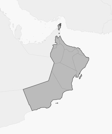 Map of Oman and nearby countries, Oman is highlighted in gray. Illustration