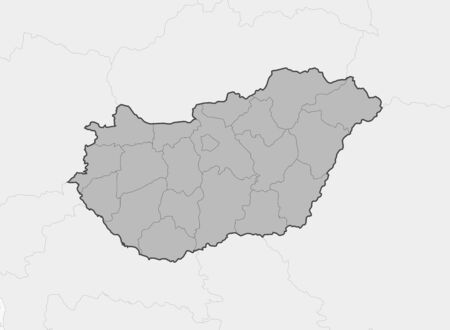 frontiers: Map of Hungary and nearby countries, Hungary is highlighted in gray.