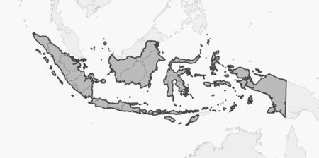 Map of Indonesia and nearby countries, Indonesia is highlighted in gray. Illustration