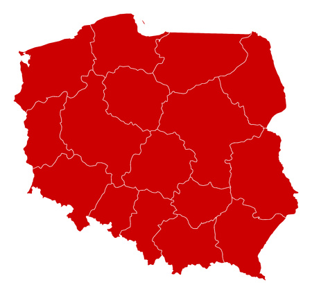 Map of Poland in black with the provinces. Illustration