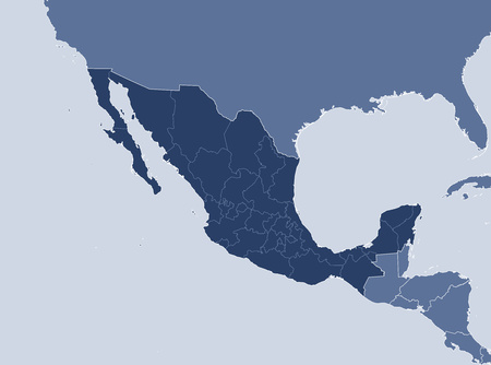 Map of Mexico and nearby countries, Mexico is highlighted. Иллюстрация