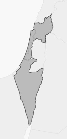 southwestern asia: Map of Israel and nearby countries, Israel is highlighted in gray.