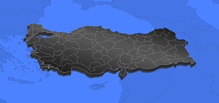Map of Turkey and nearby countries, Turkey as a black piece.