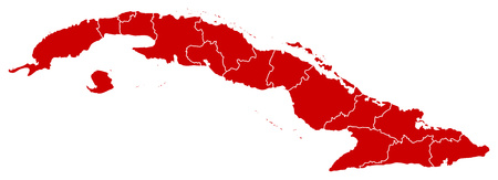 Map of Cuba in black with the provinces. Illustration