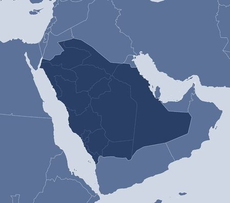 southwestern asia: Map of Saudi Arabia and nearby countries, Saudi Arabia is highlighted.