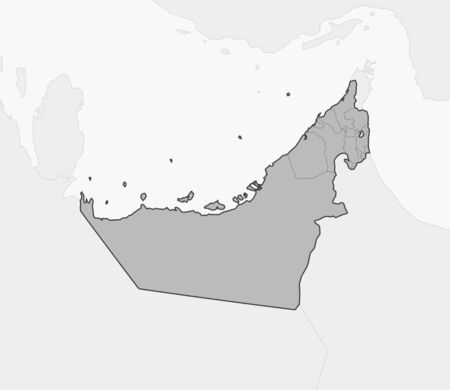 united arab emirate: Map of United Arab Emirates and nearby countries, United Arab Emirates is highlighted in gray.