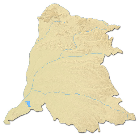 zaire: Relief map of Equateur, a province of Democratic Republic of the Congo, with shaded relief.