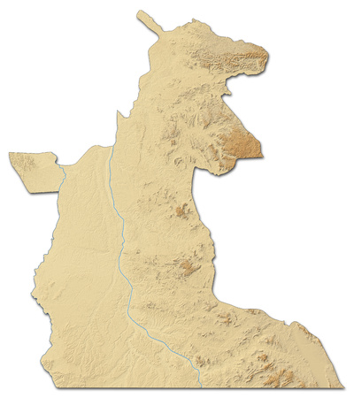 zaire: Relief map of Maniema, a province of Democratic Republic of the Congo, with shaded relief.