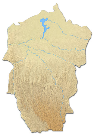 zaire: Relief map of Bandundu, a province of Democratic Republic of the Congo, with shaded relief.