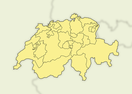 swizerland: Map of Swizerland and nearby countries who are blurred. Stock Photo