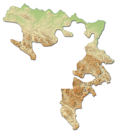 Relief map of Republika Srpska, a province of Bosnia and Herzegovina, with shaded relief.