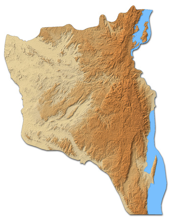 Relief map of South Kivu, a province of Democratic Republic of the Congo, with shaded relief.