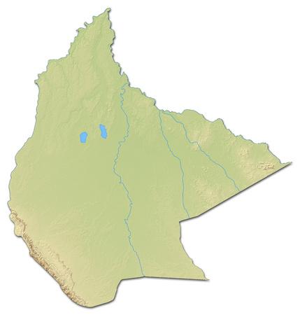 map bolivia: mapa en relieve de Beni, una provincia de Bolivia, con relieves y sombreados.