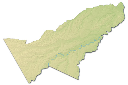Relief map of Pando, a province of Bolivia, with shaded relief.