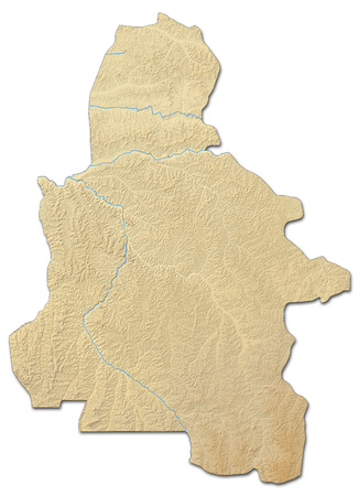 zaire: Relief map of Kasai-Occidental, a province of Democratic Republic of the Congo, with shaded relief. Stock Photo