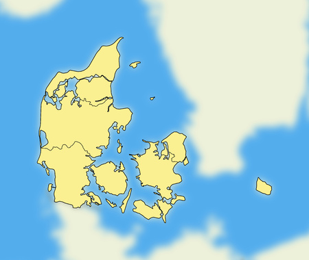 Map of Danmark and nearby countries who are blurred.