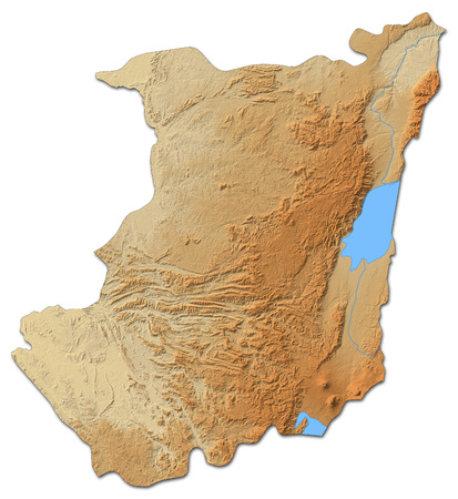 Relief map of North Kivu, a province of Democratic Republic of the Congo, with shaded relief. Stock Photo