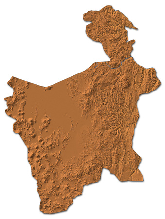 Relief map of Potosi, a province of Bolivia, with shaded relief. Stock Photo