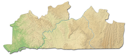 zaire: Relief map of Bas-Congo, a province of Democratic Republic of the Congo, with shaded relief.