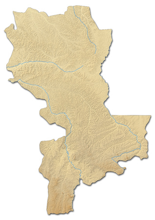 Relief map of Kasai-Oriental, a province of Democratic Republic of the Congo, with shaded relief.