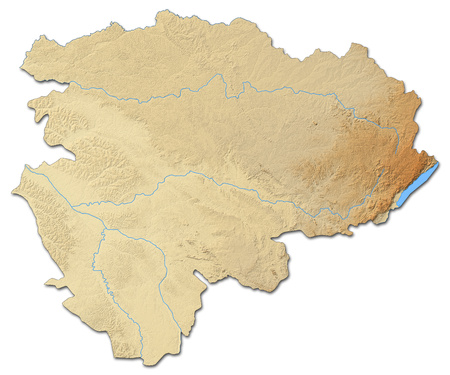 republique: Relief map of Orientale, a province of Democratic Republic of the Congo, with shaded relief. Stock Photo