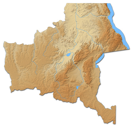 zaire: Relief map of Katanga, a province of Democratic Republic of the Congo, with shaded relief.