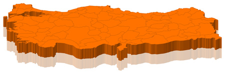 Map of Turkey as an orange piece. Stock Photo