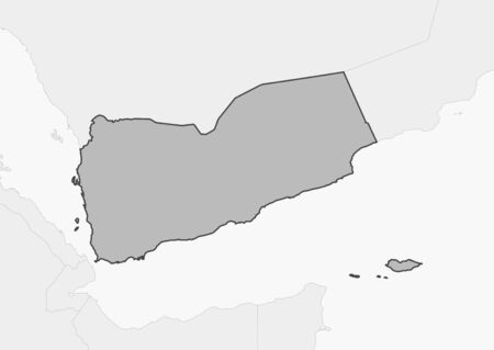 southwestern asia: Map of Yemen and nearby countries, Yemen is highlighted in gray.