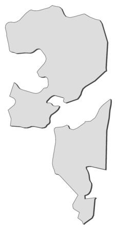 Map of Fujairah, a province of United Arab Emirates. Illustration