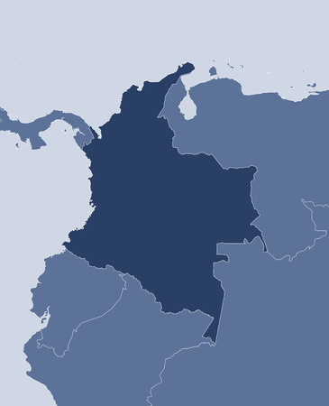 republic of colombia: Map of Colombia and nearby countries, Colombia is highlighted.