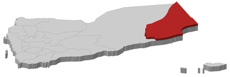 Map of Yemen as a gray piece, Al Mahrah is highlighted in red.