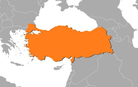 west asia: Map of Turkey and nearby countries, Turkey is highlighted in orange. Illustration