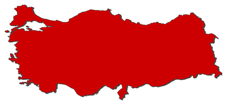 Map of Turkey with the provinces, colored in red.